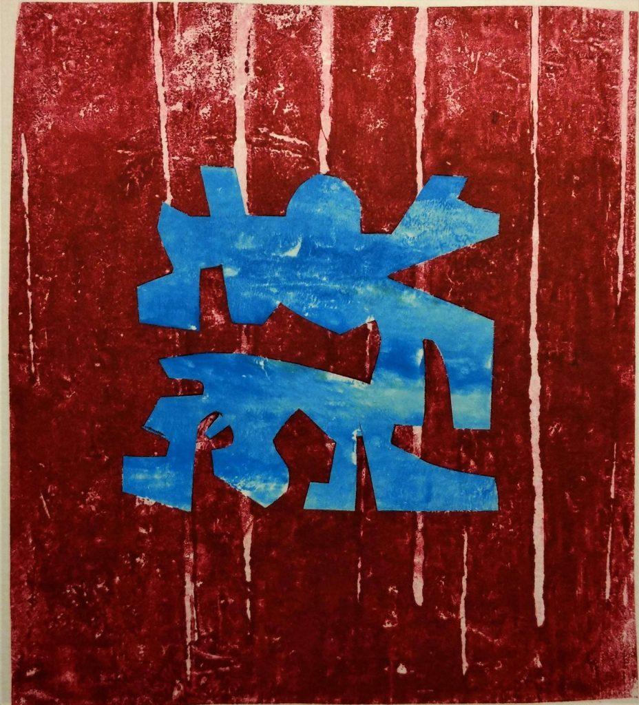 Abstrakt krabbe.  Trykk, tresnitt. 13x12 cm