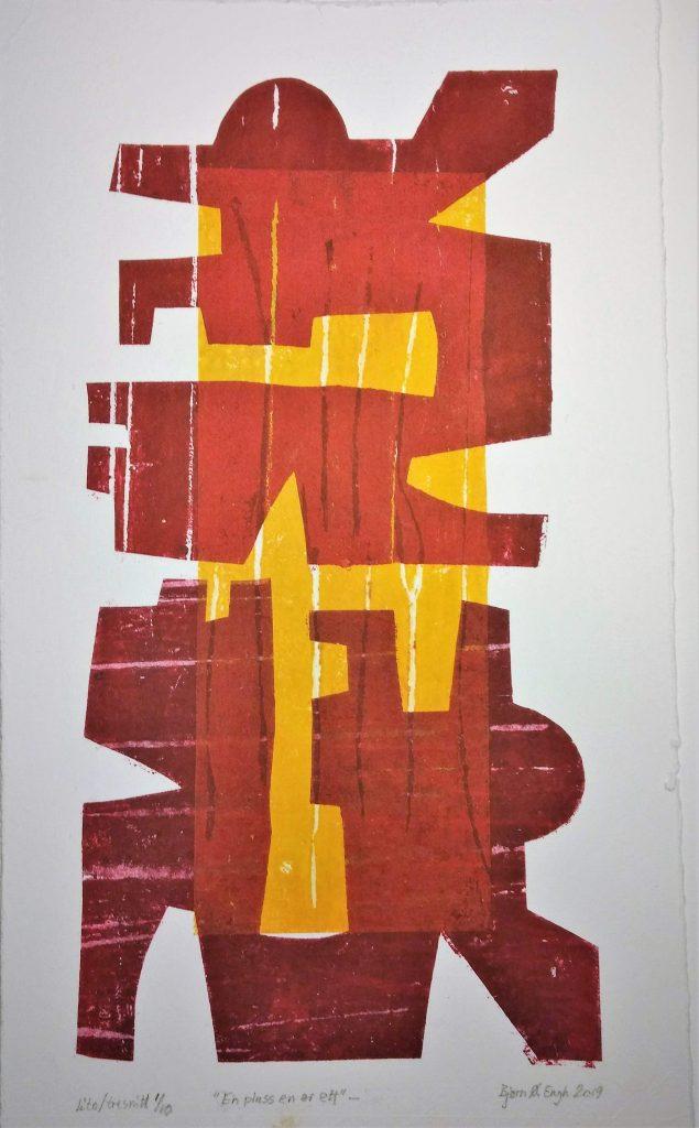 En pluss en er ett Trykk, tresnitt .  27x15 cm.