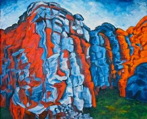 Rødt fjell  20 x 70 cm  Akryl på lerret