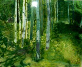 Koster-skog  2003  35 x 40 cm  Olje på lerret