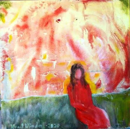 Rød dame    Forelsket. olje på lerret 30x30