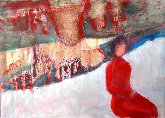 Rød dame     Retrospektiv. olje på lerret 33x24