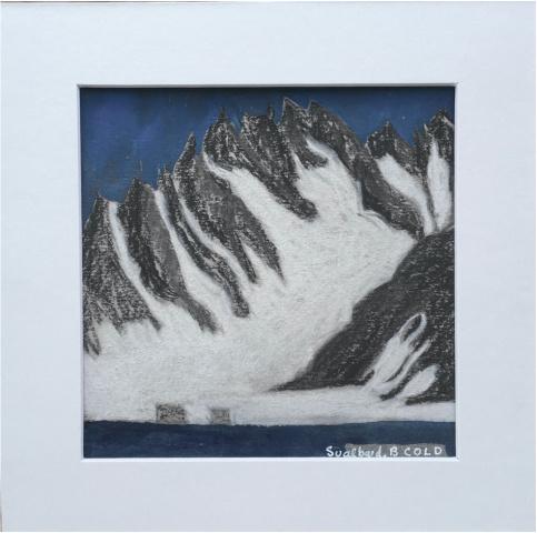 Svalbard blå, 2020  Inspirert av Svalbard minutt for minutt.  20 x 20 cm inkl. passepartout.  500 kr