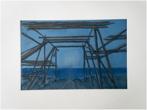 Værøy, fiskehjell, 2020  30 x 40 cm med kartong  1000 kr