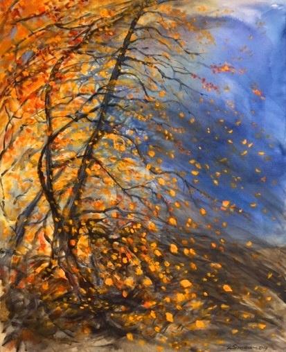 Høstens gull og glitter  Akryl på lerret   80 x 100