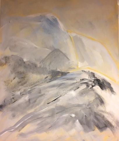 Vinter i fjellet    Akryl på lerret     80 x100