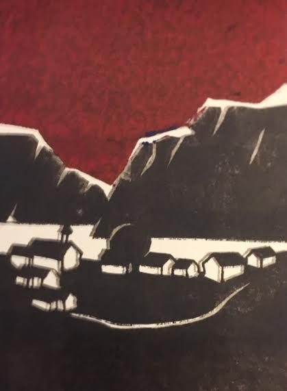 Grannebygda vestpå  Linotrykk 10 x 15 cm