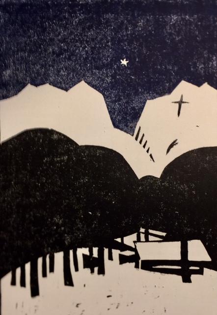 Mimrebu i vinternatt 1   Linotrykk 10 x 15 cm