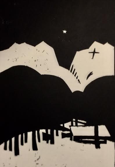 Mimrebu i vinternatt 2   Linotrykk 10 x 15 cm