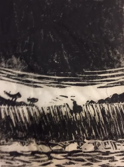 Veidemann 1   Linotrykk 10 x 15 cm