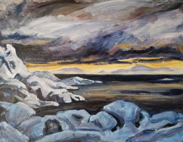 Lav sol Vesterålen       Akryl     70 x 90