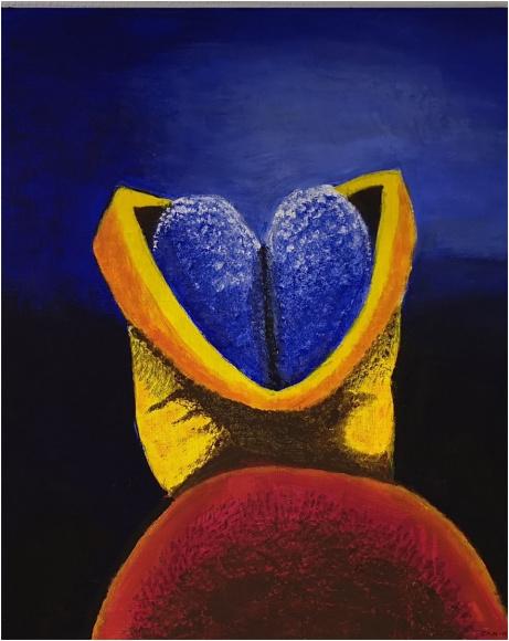 Med åpent sinn (Tidlig fosterstadium)  Akryl     55 x 65  Kr. 2000