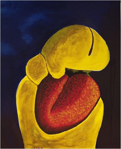 Med hjertet i halsen (Tidlig fosterstadium)  Akryl 55 x 65  Kr. 2000