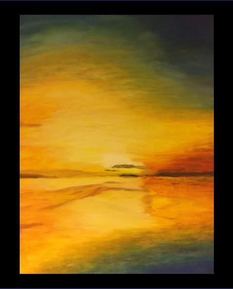 Solnedgang 1    olje på lerret   70 x 70 cm